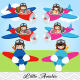 Little Aviator Digital Clip Art, Boys and Girls Pilot Clipart, 00247