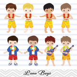 Luau Boy Digital Clip Art, Hawaii Tiki Party Clipart, Hula Party Boy Clip Art, 0171