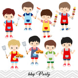BBQ Digital Clip Art, Kids BBQ Clipart, Boys and Girls Summer Barbecue Clipart, 00248