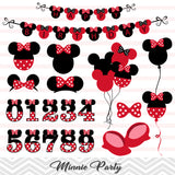 Minnie Birthday Digital Clip Art, Minnie Girls Birthday Party Clipart, 00217