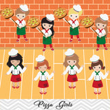 Pizza Party Clip Art, Little Chef Little Girl Pizza Clipart, 00172