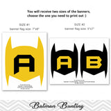 Printable Batman Banner, Digital Batman Bunting, Printable Superhero Party Banner, Batman Birthday Party Bunting 0288