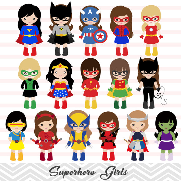 32 Little Girl Superher Digital Clip Art, Girls Superhero Clipart, Avengers Clip Art, 00264