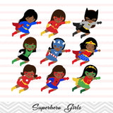 27 African American Superhero Girls Digital Clip Art, Little African American Girl Superhero Clipart, Avengers Clip Art, 00206