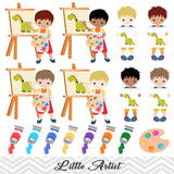 Little Artist Clip Art, Boys Art Party Clipart, Painting Party Clipart, 00166