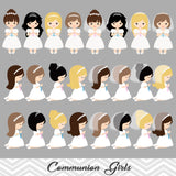 Little Girls First Communion Digital Clip Art, First Communion Girl Clipart, 00189