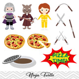 Ninja Turtle Clip Art, TMNT Clipart, Ninja Turtle Pizza Party Clipart, 00196