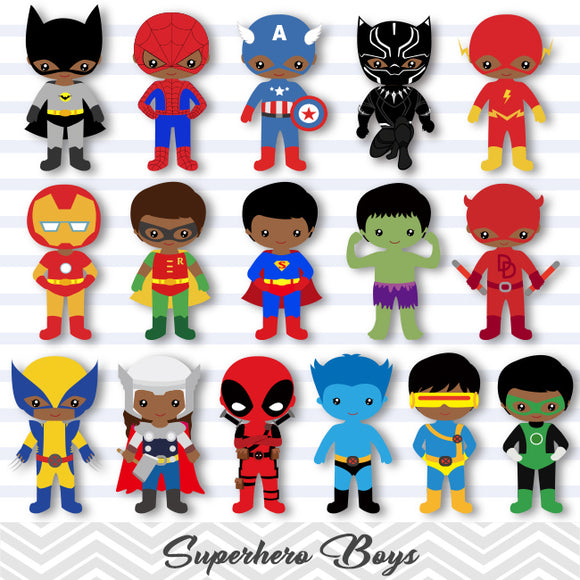 30 African American Little Boy Superher Digital Clip Art, Boys Superhero Clipart, Avengers Clip Art, 00275