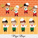 Pizza Party Clip Art, Little Chef Little Boy Pizza Clipart, 00241