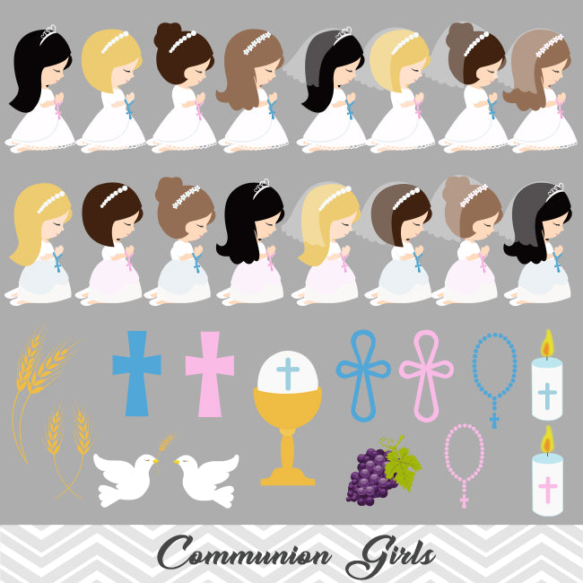 Little Girls First Communion Digital Clip Art First Communion Girl Tracy Digital Design