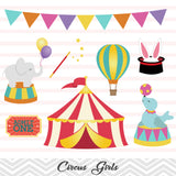 African American Circus Clip Art, Circus Girls Clipart, Carnival Clipart, 00222