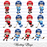 Boys Hockey Digital Clip Art, Sport Boys Hockey Team Clipart, 00251