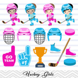 Girls Hockey Digital Clip Art, Sport Girls Hockey Team Clipart, 00253
