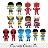 62 African American Superhero Boys and Girls Digital Clipart, African American Superhero Clip Art 00271