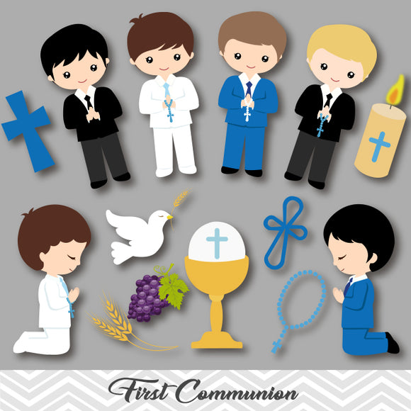 Boys First Communion Clip Art, First Communion Boys Clipart, 00191