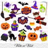 Halloween Clip Art, Trick or Treat Clipart, Halloween Boy and Girl Clipart, 00150