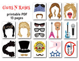 Guns N Roses Photo Booth Props, Printable Pop Star PhotoBooth Props, 0210