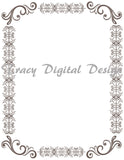 8 Grey Digital Full Page Border Clip Art, Full Page Border Clipart, 0115