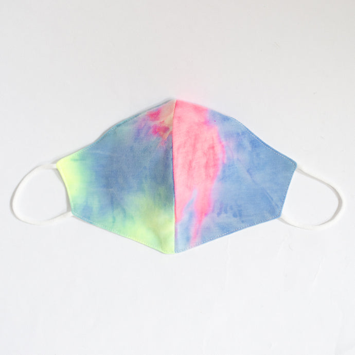 Cotton Face Cover In Multicolour Neon Tie Dye