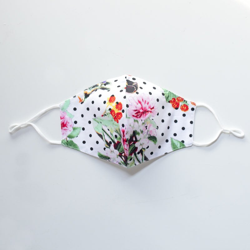 Cotton Face Cover in Floral & Dot Print