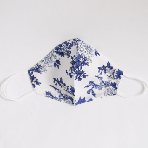 Viscose & Cotton Face Mask In Blue Floral Print