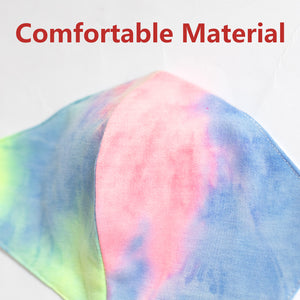 Cotton Face Mask In Multicolour Neon Tie Dye