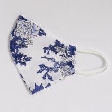 Load image into Gallery viewer, Viscose & Cotton Face Cover In Blue Floral Print