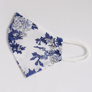 Viscose & Cotton Face Cover In Blue Floral Print