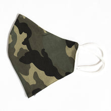 Load image into Gallery viewer, Cotton Face Cover  in Green Camouflage Print