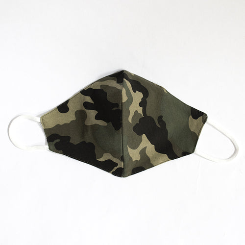 Cotton Face Mask in Green Camouflage Print
