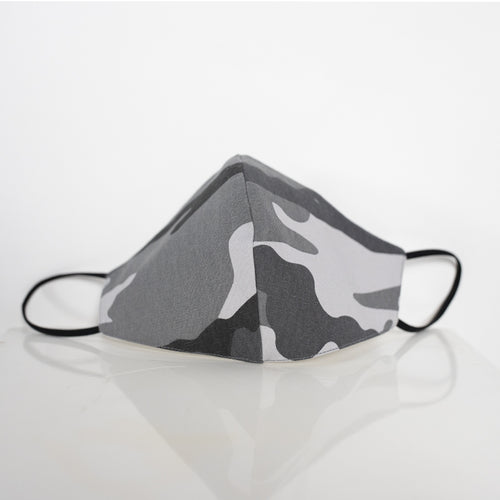 Cotton Face Mask in Grey Camouflage Print