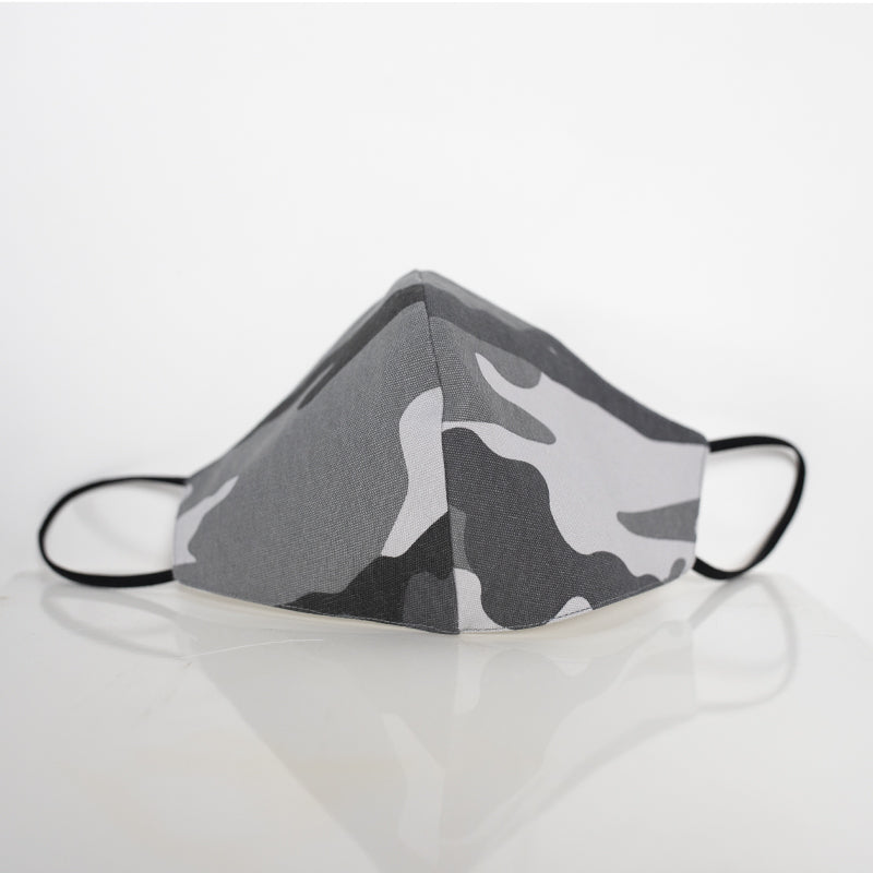 Cotton Face Cover in Grey Camouflage Print