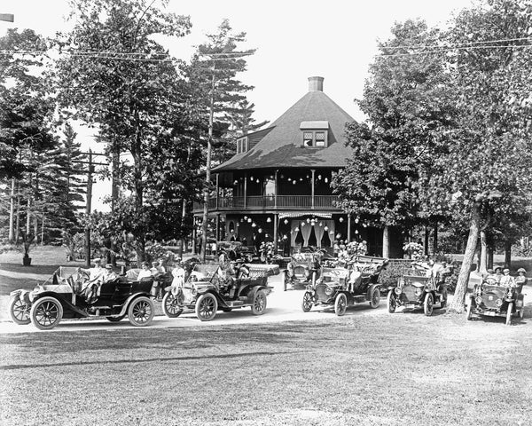 Touring cars at Bluff Point, circa 1917. -- Clinton County Historical Museum