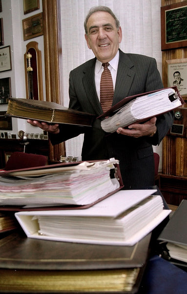 Former Peabody Mayor Peter Torigian in his City Hall office, May 2001. -- Courtesy The Salem News