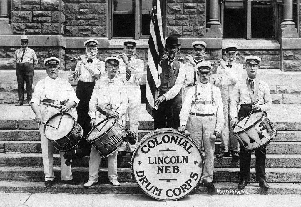 The Colonial Drum Corps on the steps of City Hall in 1910. -- Nebraska State Historical Society