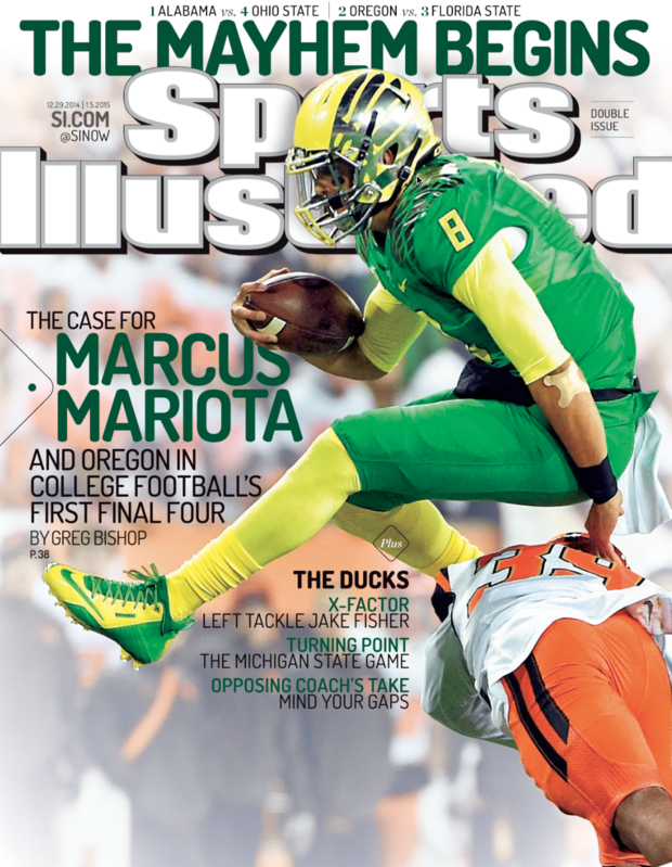 Marcus Mariota's hurdle of an Oregon State defender on Nov. 29 is the setting for his fourth Sports Illustrated cover of his career. (Sports Illustrated)