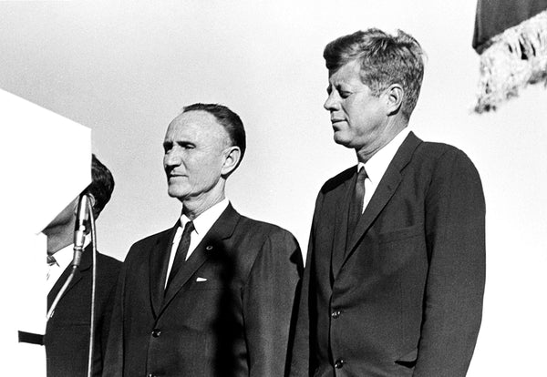 Montana Senator Mike Mansfield and President John F. Kennedy in Billings on September 25, 1963. Kennedy addressed a crowd of around 17,000 at the Yellowstone County Fairgrounds as part of an 11-state tour to promote national resource conservation. -- COURTESY BILLINGS GAZETTE AND WESTERN HERITAGE CENTER
