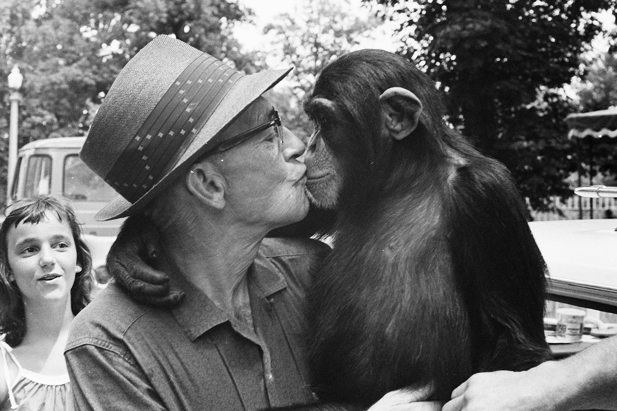 A man and chimpanzee at Weed Park Zoo, 1965. -- Muscatine Journal