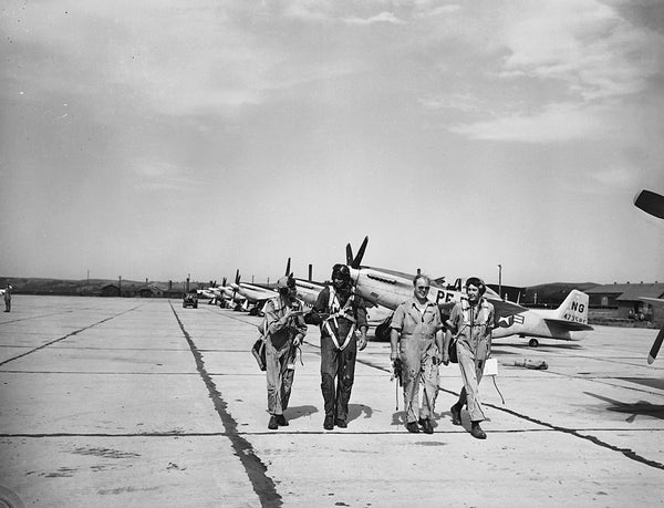 P-51 pilots on the apron at Sioux City Army Air Base, circa 1945. -- SIOUX CITY PUBLIC MUSEUM