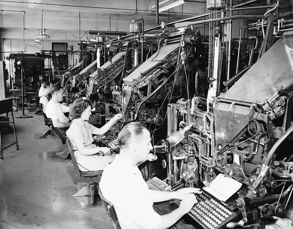 Linotype workers and machines, Sioux City Journal-Tribune, Fifth and Douglas streets, 1946. -- Courtesy Sioux City Public Museum