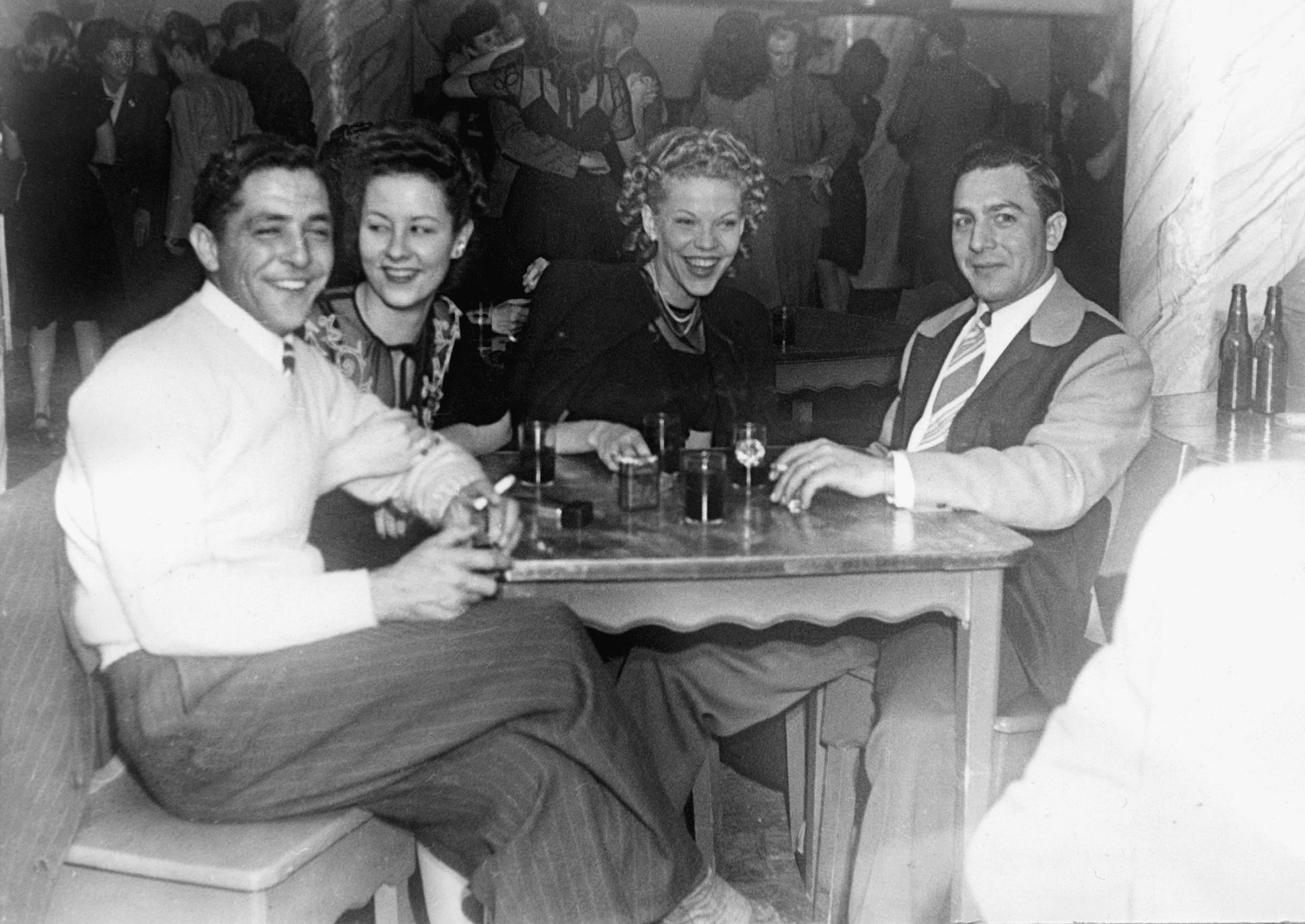 "Two couples at the Elmo Club at Lake Elmo, 1946. From left: Jim and Mary Bangart, Madlyn ""Chic"" and Malger ""Blackie"" Magilke. -- Courtesy Western Heritage Center"