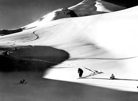 Member of the Longview Ski Club near Mount St. Helens, circa 1949. -- Cowlitz County Historical Museum / #2011.0047.0002.0056
