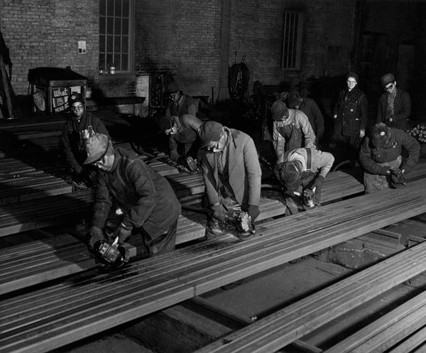 Grinders at Billet Mill, U.S. Steel Gary Works, 1943. -- CALUMET REGIONAL ARCHIVES, INDIANA UNIVERSITY NORTHWEST