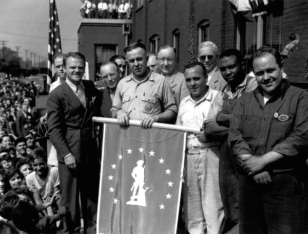Actor James Cagney at a World War II bond drive, Inland Steel Indiana Harbor Works, circa 1942. -- CALUMET REGIONAL ARCHIVES, INDIANA UNIVERSITY NORTHWEST