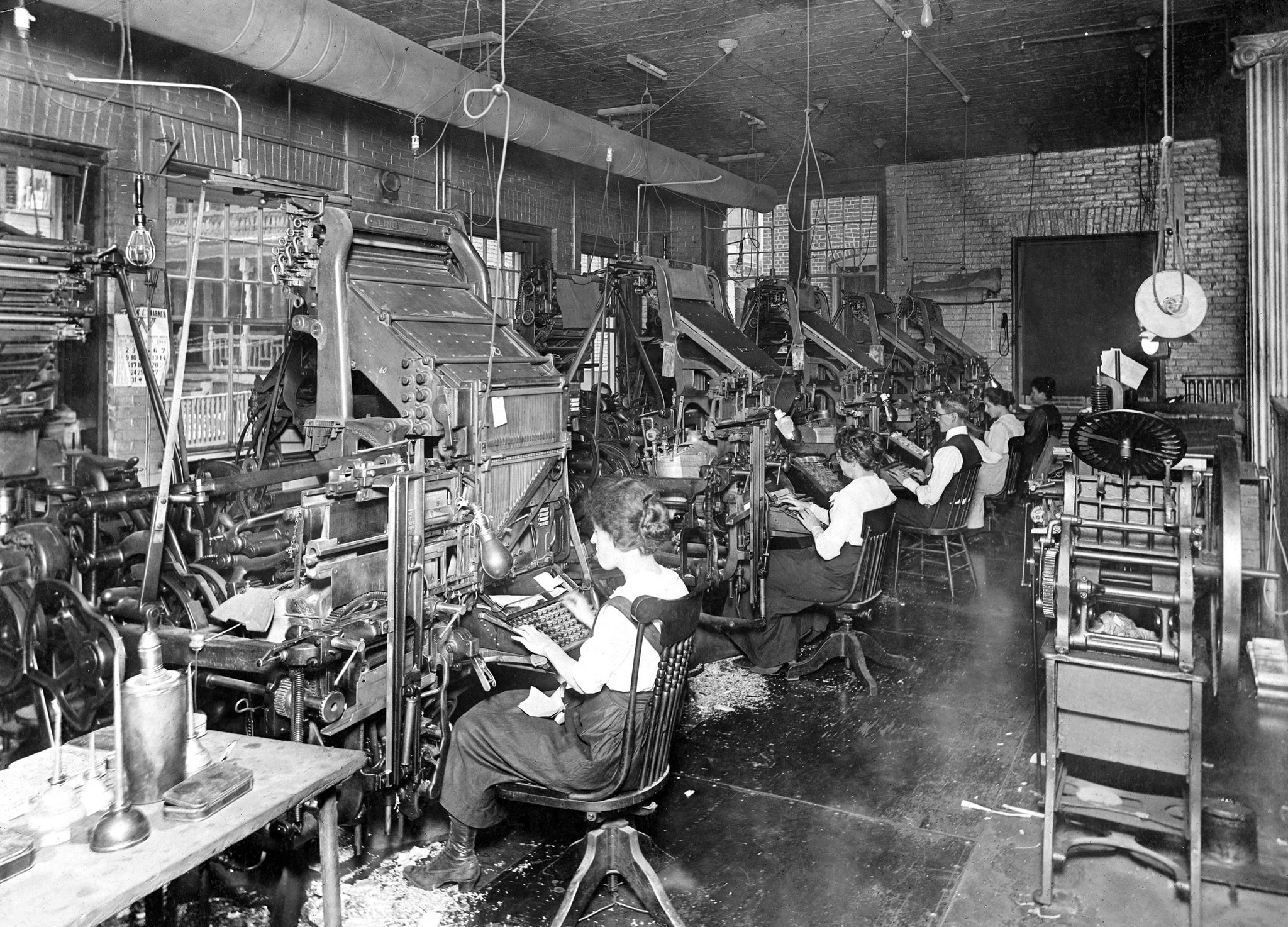 The Salem Evening News typesetting room, 1918. -- Salem State University Special Collections