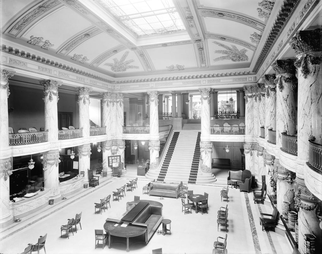Lobby and grand staircase in the Jefferson Hotel, circa 1908. -- Library of Congress, Prints & Photographs Division, Detroit Publishing Company Collection