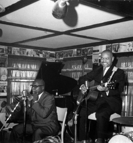 Sonny Terry and Brownie McGhee performing at Lennie's in February 1964. -- Salem State Archives