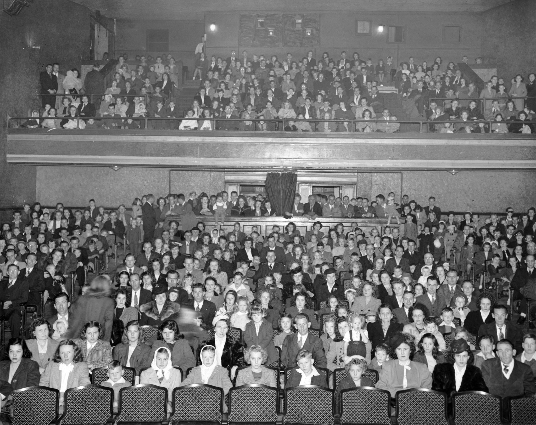 Bur-Mil employees and families at the company Christmas party at the Sunset Theatre in Asheboro, 1946. -- Courtesy of the Randolph County Public Library