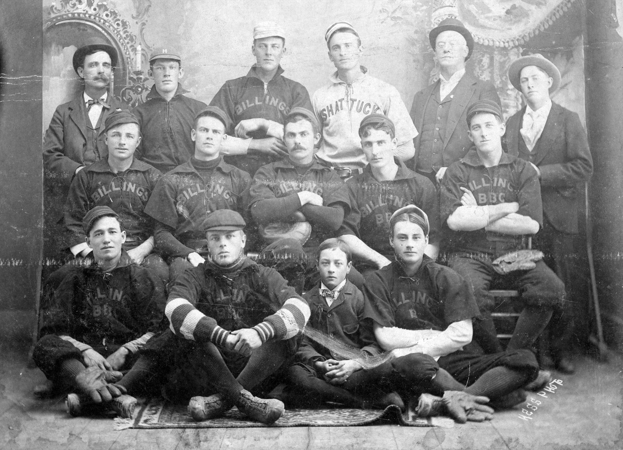 "Billings baseball club, 1899. Back row, third from left is Roger ""Peaceful Valley"" Denzer, who had pitched in the Major Leagues for the Chicago Colts in 1897 and would make it back with the New York Giants in 1901. In Billings he was infamous for allowing a home run in the bottom of the ninth inning of the 1900 championship game against Helena. -- Courtesy Western Heritage Center"