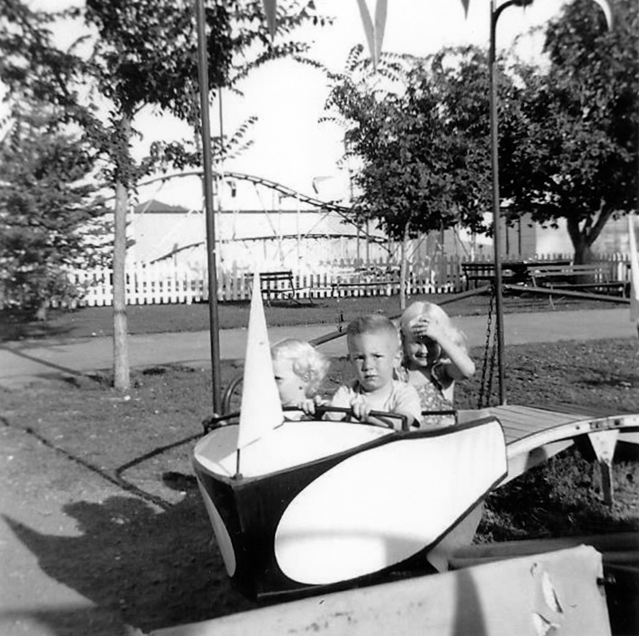 Arlene, Gary, and Joan Drake at the Wonderland amusement park, circa 1956. -- Arlene Drake Hegel